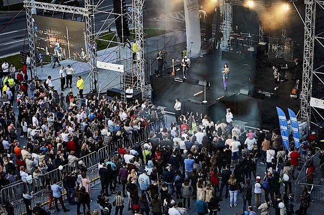 Dni Otwarte Funduszy Europejskich w 2019. Na zdjęciu scena koncertowa, która znajdowała się w na Placu teatralnym w Lublinie.